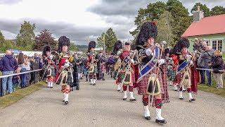 Massed pipes & drums parade - to the 2018 Braemar Gathering Royal Highland Games in Scotland (4K)